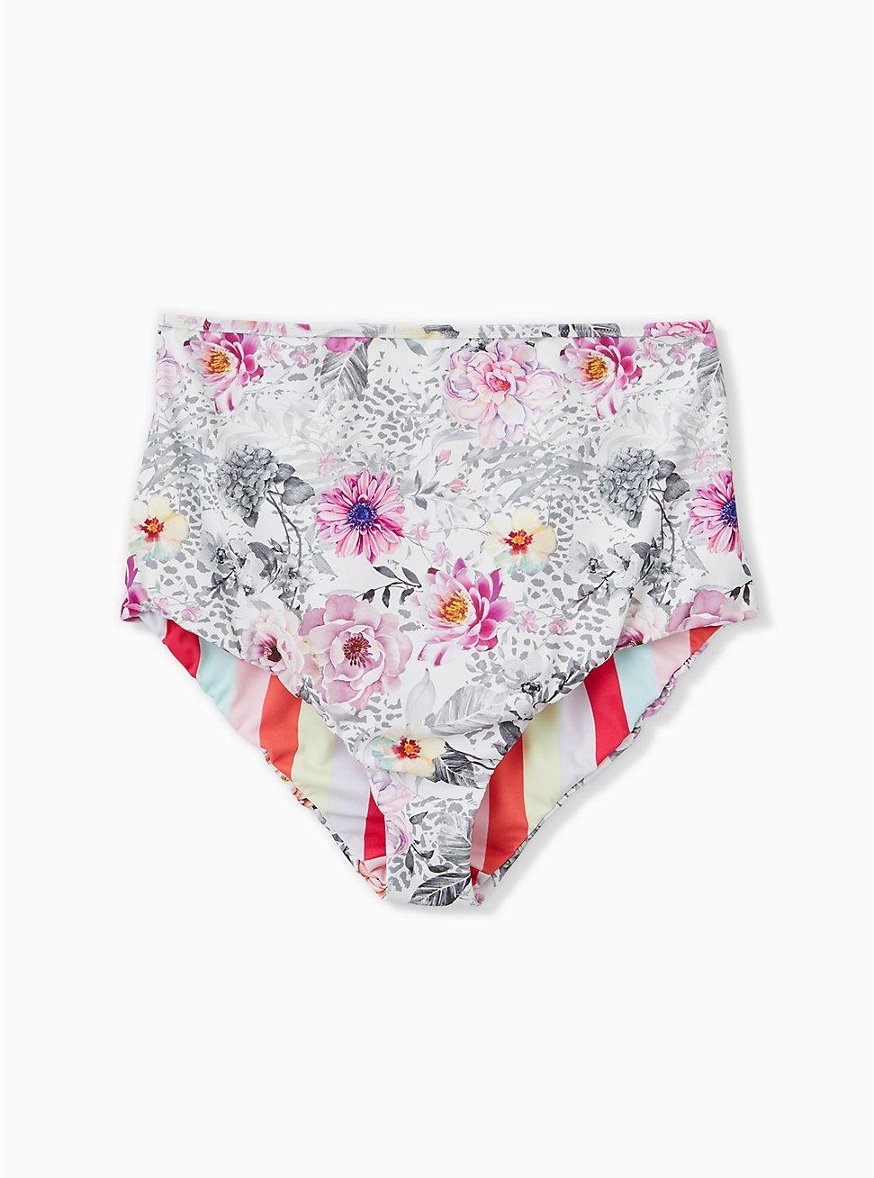 Coral Stripe & White Floral Reversible High Waist Swim Bottom, MULTI, hi-res