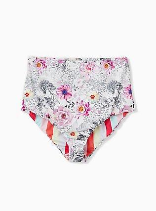 Plus Size Coral Stripe & White Floral Reversible High Waist Swim Bottom, MULTI, hi-res