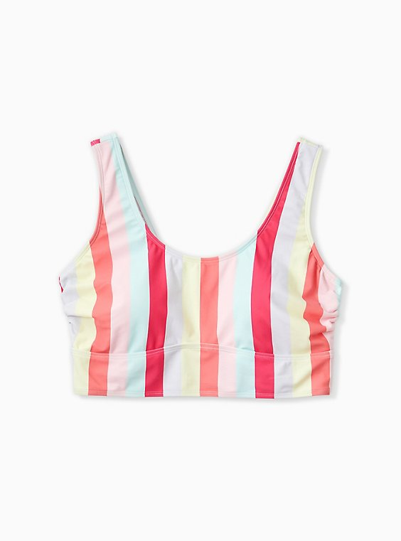 Plus Size Coral Stripe Wireless Scoop Bikini Top, , hi-res