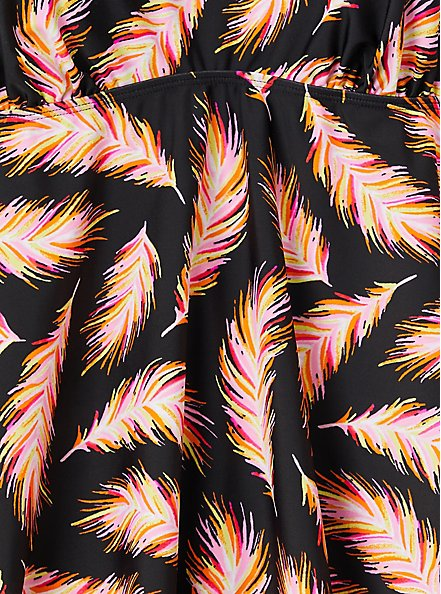 Black Feather V-Neck Wireless Tankini Top, MULTI, alternate