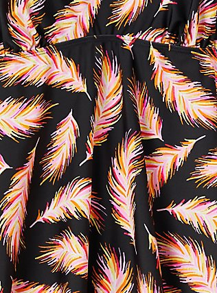 Plus Size Black Feather V-Neck Wireless Tankini Top, MULTI, alternate