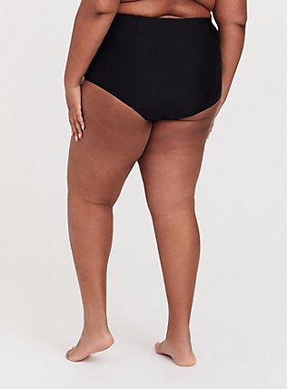 Plus Size Black High Waist Tie Front Swim Bottom, DEEP BLACK, alternate