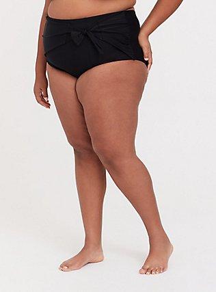 Plus Size Black High Waist Tie Front Swim Bottom, DEEP BLACK, hi-res