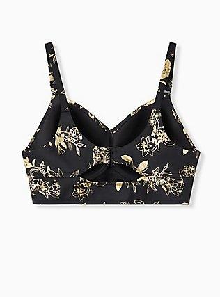 Plus Size Black & Gold Floral Everyday Wire-Free Bikini Top, MULTI, alternate