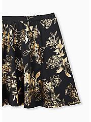 Plus Size Black & Gold Floral High Waist Skater Swim Skirt, MULTI, alternate
