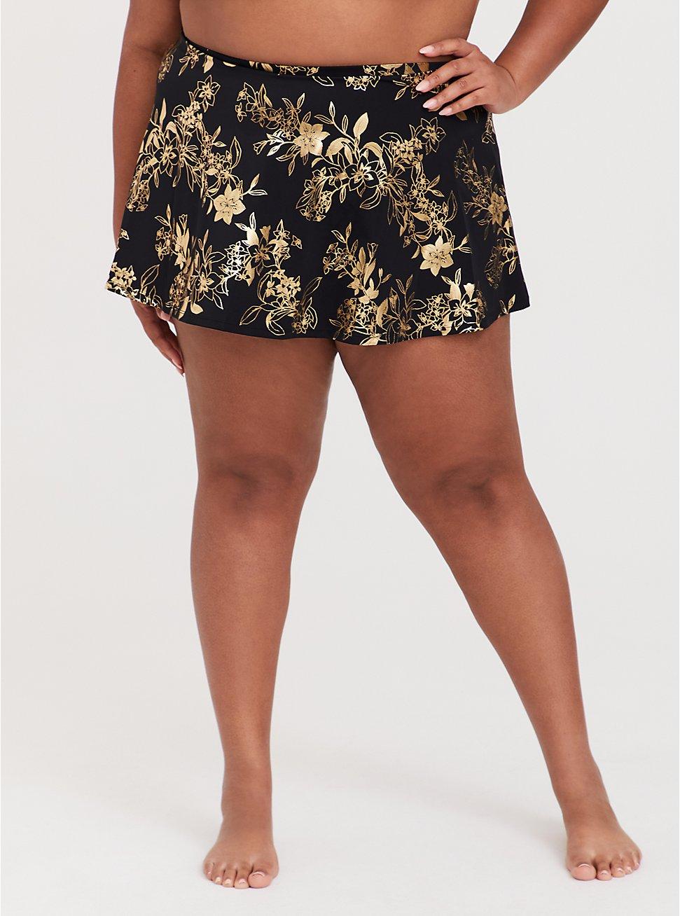 Plus Size Black & Gold Floral High Waist Skater Swim Skirt, MULTI, hi-res