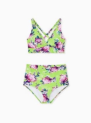 Plus Size Neon Green Floral Wireless Triangle Bikini Top, MULTI, alternate