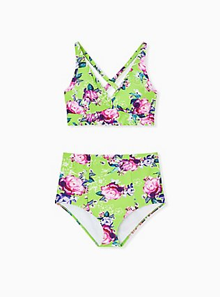 Plus Size Neon Green Floral Lattice High Waist Swim Bottom, MULTI, alternate
