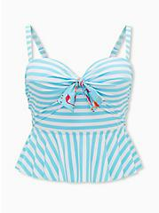 Aqua Blue Stripe Tie Front Underwire Peplum Midkini Swim Top, MULTI, hi-res