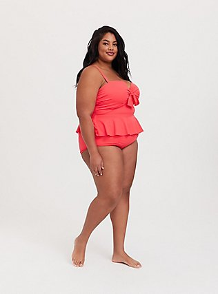 Coral High Waist Ruched Swim Bottom, CORAL, alternate