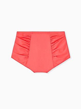 Coral High Waist Ruched Swim Bottom, CORAL, alternate