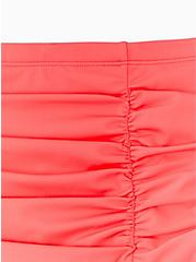 Hot Coral High Waist Ruched Swim Bottom, CORAL, alternate
