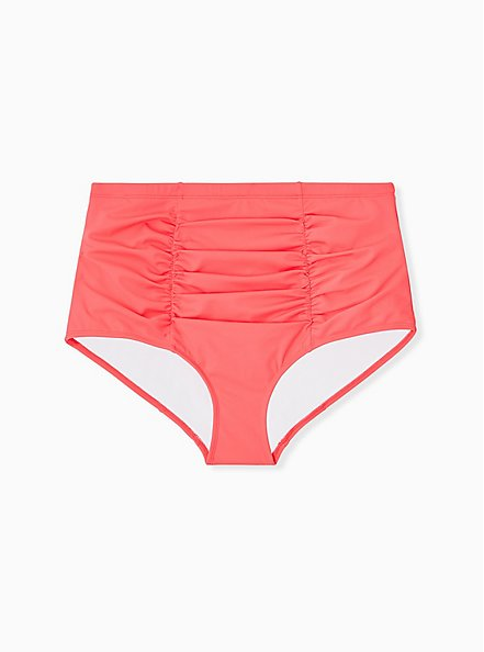 Coral High Waist Ruched Swim Bottom, CORAL, hi-res