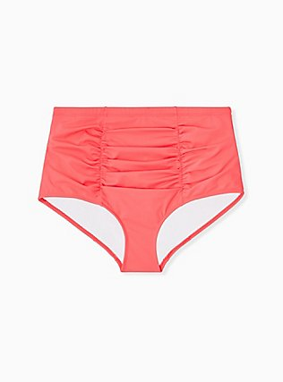 Plus Size Coral High Waist Ruched Swim Bottom, CORAL, ls