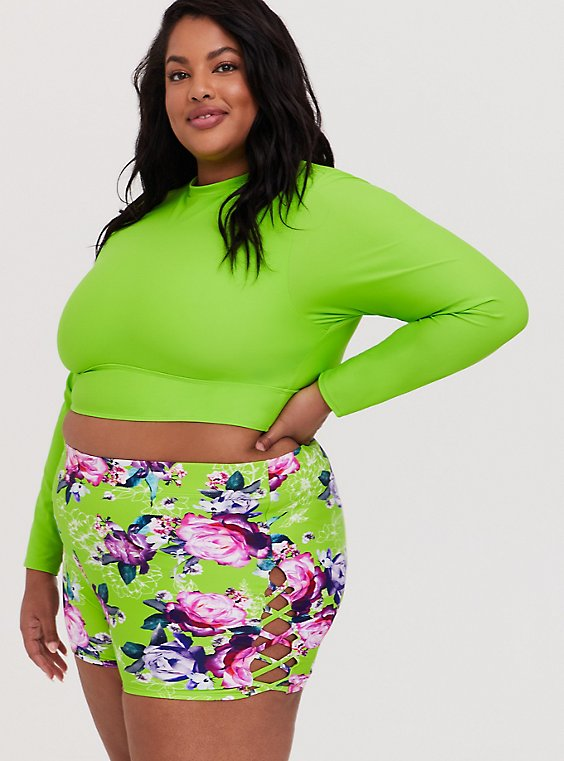 Plus Size Neon Green Wireless Crop Rash Guard, GREEN, hi-res