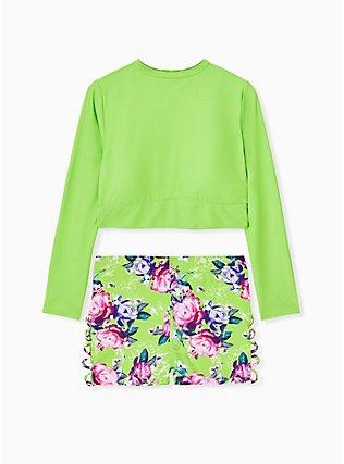 Plus Size Neon Green Floral Lattice Side Swim Short, MULTI, alternate