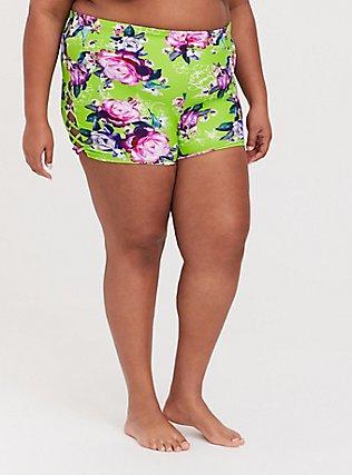 Plus Size Neon Green Floral Lattice Side Swim Short, MULTI, hi-res