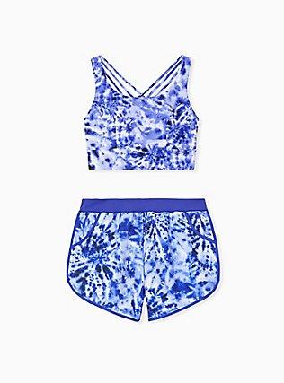 Plus Size Navy Tie Dye Lattice Back Wireless Bikini Top, MULTI, alternate