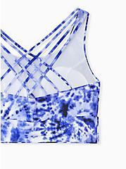 Navy Tie Dye Lattice Back Wireless Bikini Top, MULTI, alternate