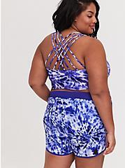 Navy Tie Dye Lattice Back Wireless Bikini Top, MULTI, hi-res
