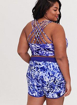 Plus Size Navy Tie Dye Lattice Back Wireless Bikini Top, MULTI, hi-res