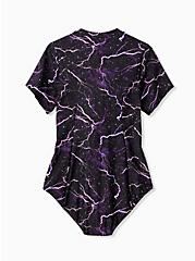 Black Lightning Streaks Rash Guard Swimsuit, MULTI, alternate