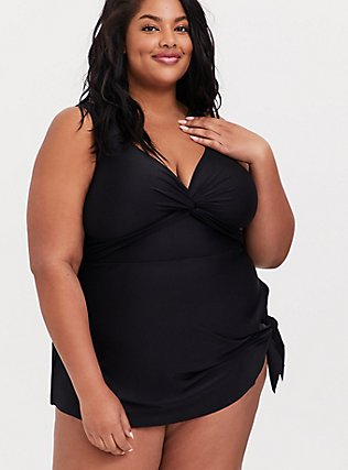Black Twist Front Wireless Asymmetrical One-Piece Swim Dress, DEEP BLACK, hi-res