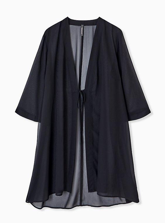 Plus Size Black Chiffon Tie Front Kimono Swim Cover Up Torrid