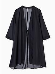 Black Chiffon Tie Front Kimono Swim Cover Up, DEEP BLACK, alternate