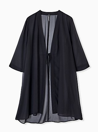 Plus Size Black Chiffon Tie Front Kimono Swim Cover Up, DEEP BLACK, alternate