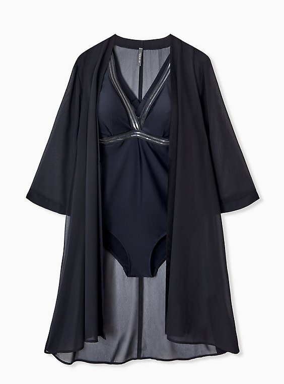 Plus Size Black Chiffon Tie Front Kimono Swim Cover Up, , hi-res