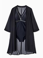 Black Chiffon Tie Front Kimono Swim Cover Up, DEEP BLACK, hi-res