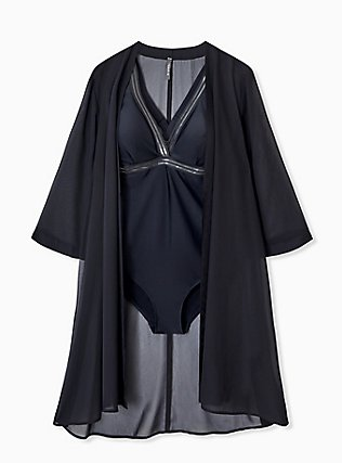 Plus Size Black Chiffon Tie Front Kimono Swim Cover Up, DEEP BLACK, hi-res