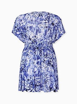 Plus Size Navy Tie-Dye Mesh Dolman Dress Swim Cover Up, MULTI, alternate
