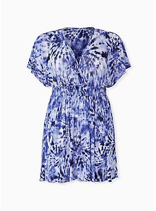 Plus Size Navy Tie-Dye Mesh Dolman Dress Swim Cover Up, MULTI, hi-res