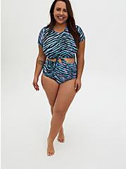 Blue & Pink Zebra Tie Front Wireless Swim Crop Top , MULTI, alternate