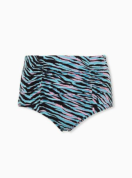 Blue & Pink Zebra High Waist Ruched Swim Bottom, MULTI, hi-res
