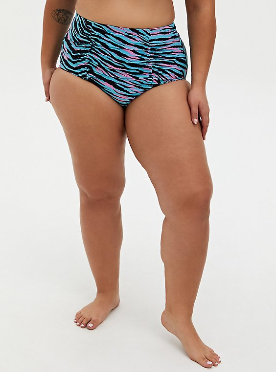 Blue & Pink Zebra High Waist Ruched Swim Bottom, , hi-res