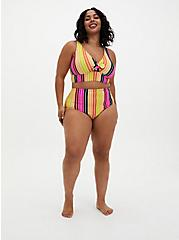 Multi Stripe Tie Front Wireless Triangle Bikini Top, MULTI, alternate