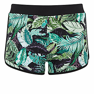 Green Tropical Dinosaur Dolphin Hem Swim Short