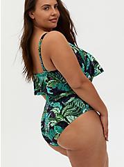 Green Tropical Dinosaur Wireless Flounce One-Piece Swimsuit, MULTI, alternate