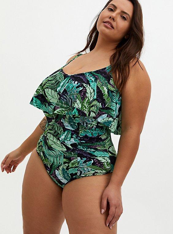 Green Tropical Dinosaur Wireless Flounce One-Piece Swimsuit, MULTI, hi-res