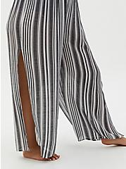 Black & White Crinkled Gauze Stripe Side Slit Pant Swim Cover-Up, MULTI, alternate