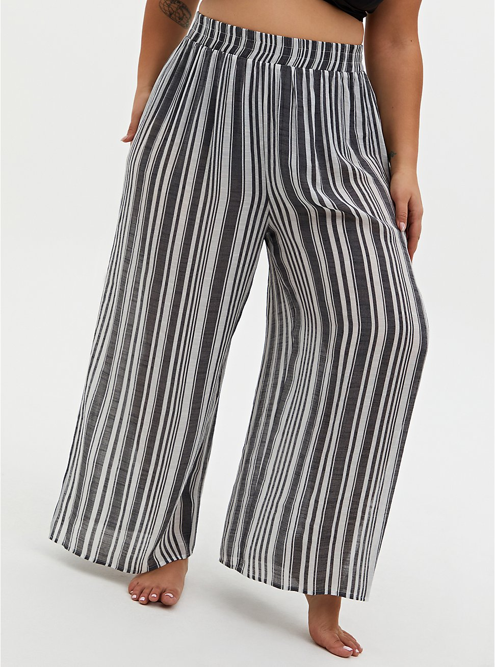 Black & White Crinkled Gauze Stripe Side Slit Pant Swim Cover-Up, MULTI, hi-res