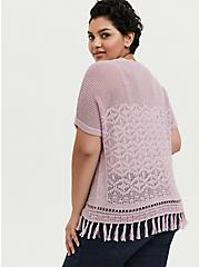 Mauve Pink Fringe Hem Pullover Top, MAUVE SHADOWS, alternate