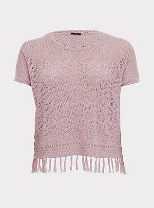 Mauve Pink Fringe Hem Pullover Top, MAUVE SHADOWS, flat