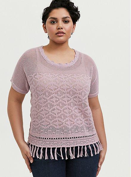 Mauve Pink Fringe Hem Pullover Top, MAUVE SHADOWS, hi-res