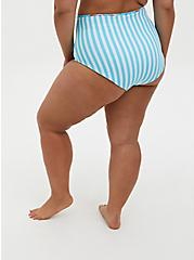 Plus Size White & Blue Stripe Flamingo High Waist Reversible Swim Bottom, MULTI, alternate