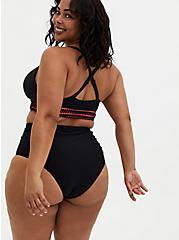 Black & Peach Pink Wireless Triangle Bikini Top, DEEP BLACK, alternate