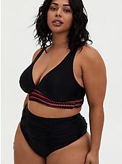 Plus Size Black & Peach Pink Wireless Triangle Bikini Top, DEEP BLACK, hi-res